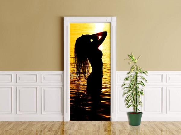 Türaufkleber - Frau im Ozean