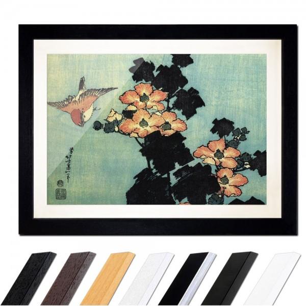 Katsushika Hokusai - Hibiskus und Spatz