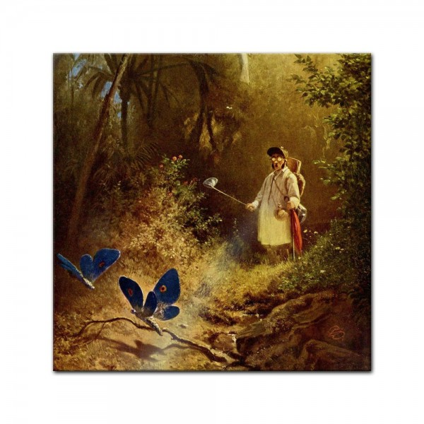 Glasbild Carl Spitzweg - Alte Meister - Der Schmetterlingsfänger