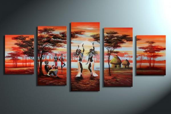African Life M2 - Leinwandbild 5 teilig 150x70cm Handgemalt