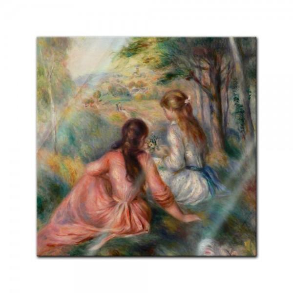 Glasbild Pierre-Auguste Renoir - Alte Meister - Junge Mädchen auf der Wiese