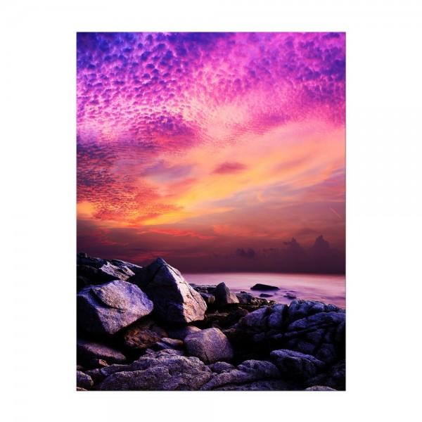 Leinwandbild - Sonnenuntergang über Felsenküste