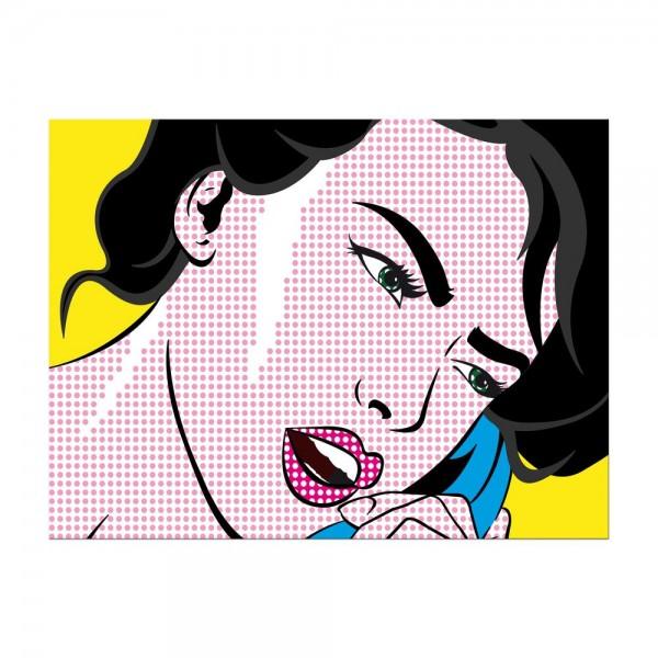 Leinwandbild - Pop-Art Frau mit Telefon