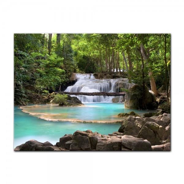 Leinwandbild - Wasserfall im Wald