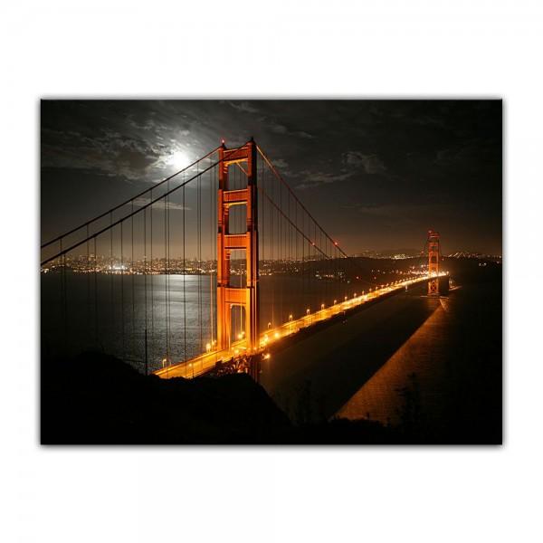 Leinwandbild - Golden Gate Bridge bei Nacht (Vollmond)