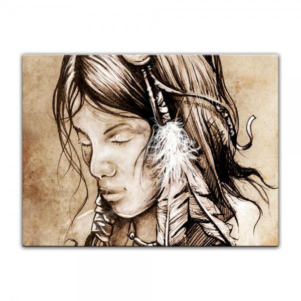 Leinwandbild - Indianerin, Tattoo Art