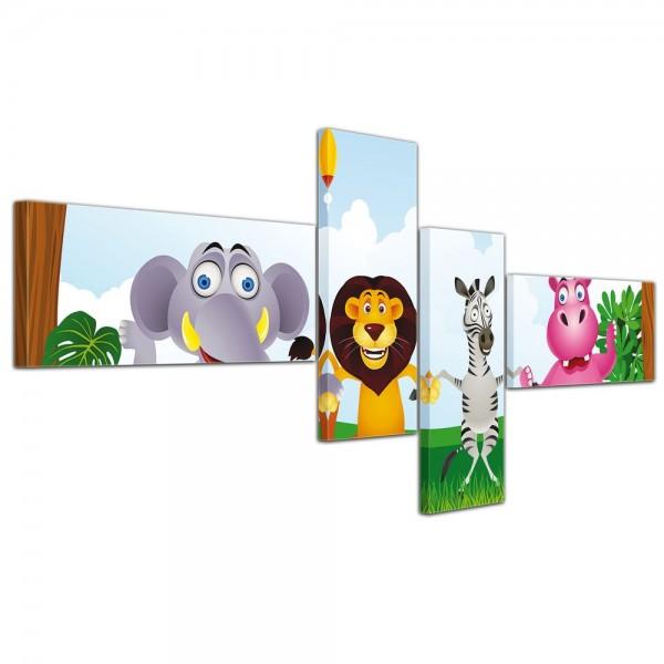 SALE Leinwandbild - Kinderbild - Dschungeltiere Cartoon 200x90 cm 4tlg