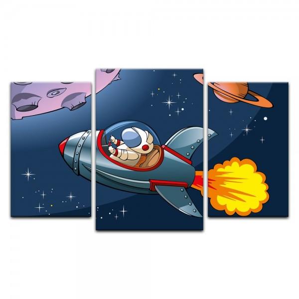 Leinwandbild - Kinderbild - Rakete im Weltraum