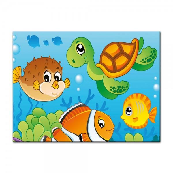Leinwandbild - Kinderbild - Unterwasser Tiere V