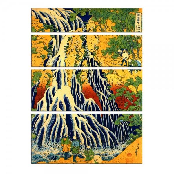 Leinwandbild - Katsushika Hokusai - Pilger beim Kirifuri Wasserfall