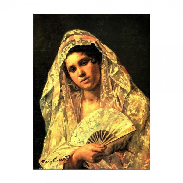 Leinwandbild - Mary Cassatt - Spanische Tänzerin tragend eine Spitzemantille