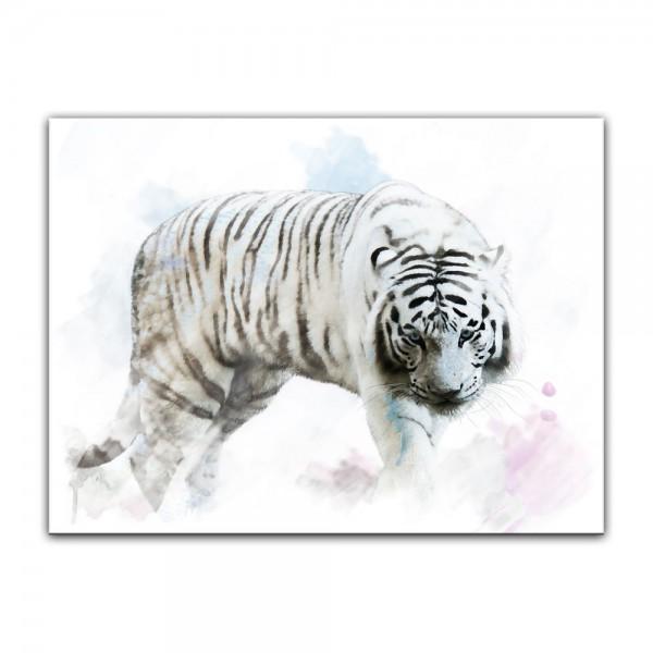 Leinwandbild - Aquarell - Weißer Tiger