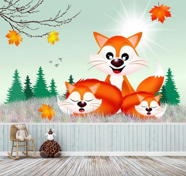 selbstklebende Fototapete - Kinderbild - Fuchsfamilie Cartoon