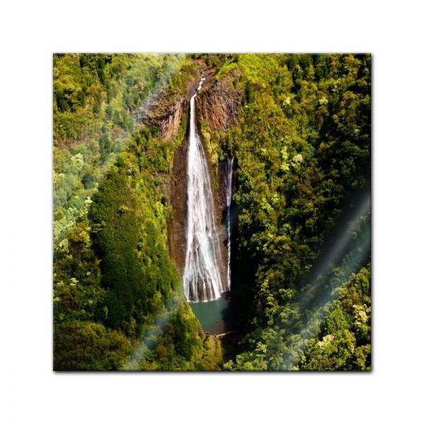 Glasbild - Manawaiopuna Wasserfall in Kauai - USA