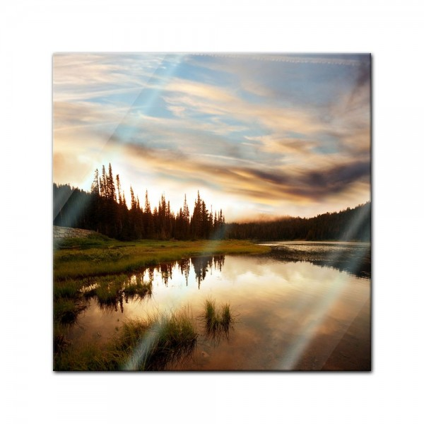 Glasbild - Sonnenuntergang am See