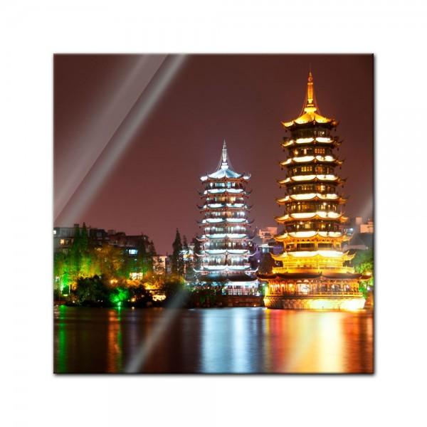 Glasbild - Guilin Double Pagode Towers - Japan