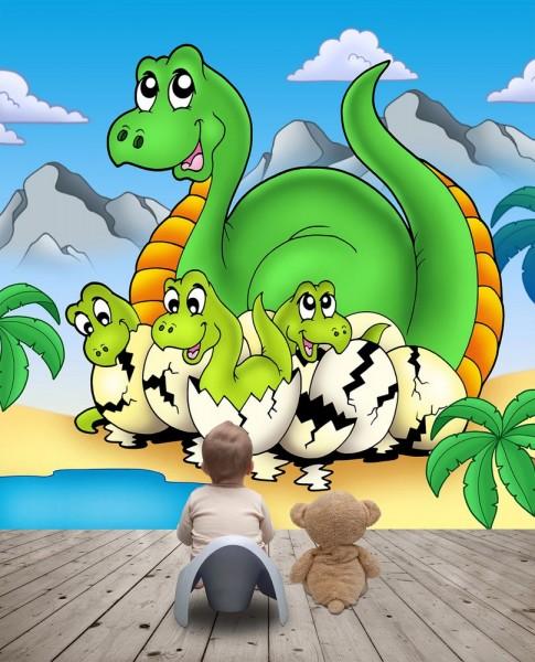 Fototapete Dino Kindertapete - Mama mit Baby