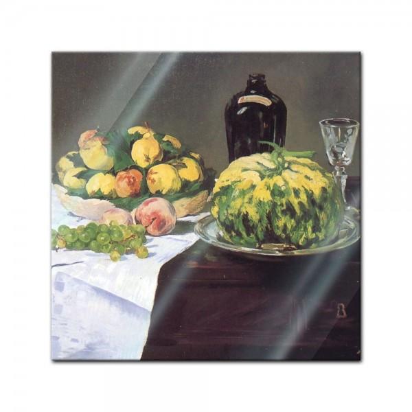 Glasbild Edouard Manet - Alte Meister - Stillleben mit Melone und Pfirsichen