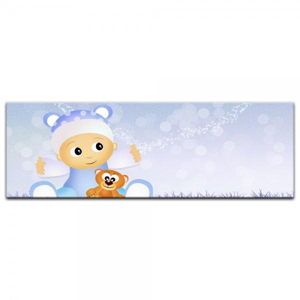 Leinwandbild - Kinderbild - Baby mit Kuschelteddy in blau