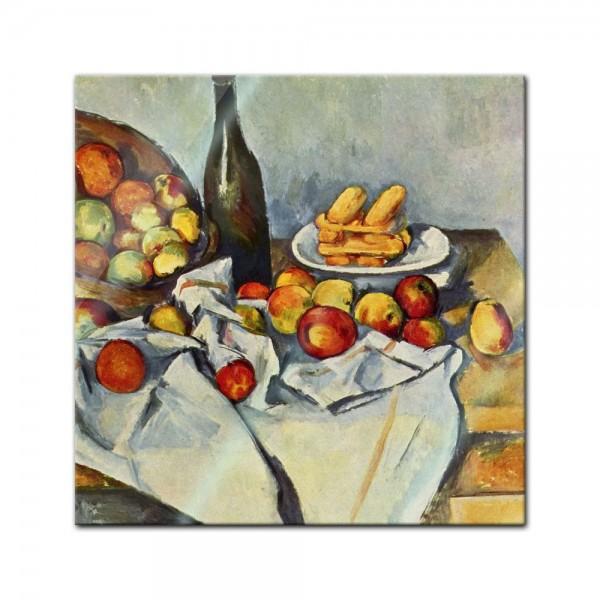Glasbild Paul Cézanne - Alte Meister - Stillleben mit Flasche und Apfelkorb