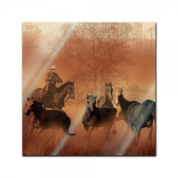 Glasbild - Cowboy mit Pferden