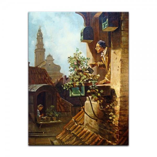 Leinwandbild - Carl Spitzweg - Im Dachstübchen
