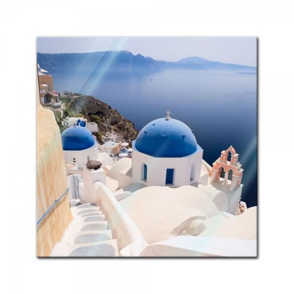 Glasbild - Santorini Blick
