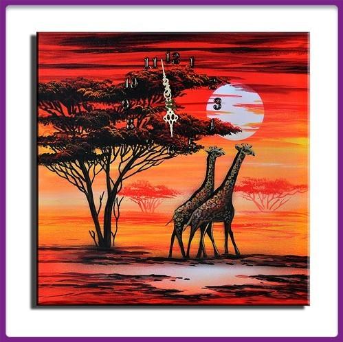Wanduhr Leinwand Giraffen D 05
