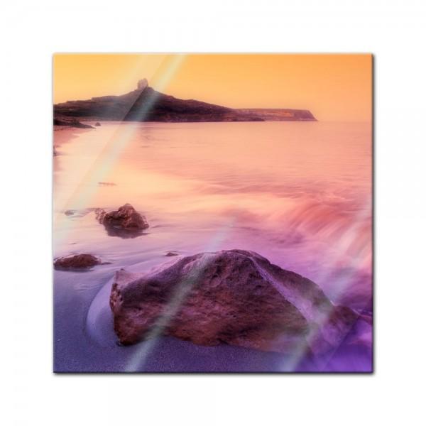 Glasbild - Sonnenaufgang über Sardinien