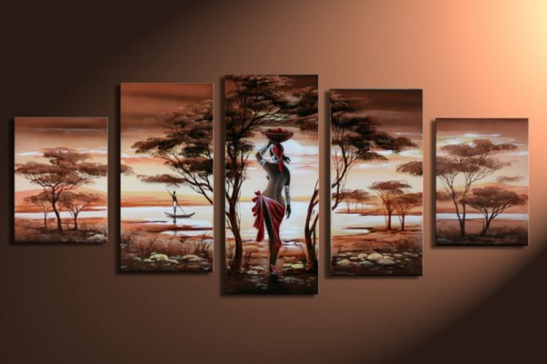 African Dreams M1 - Leinwandbild 5 teilig 150x70cm Handgemalt
