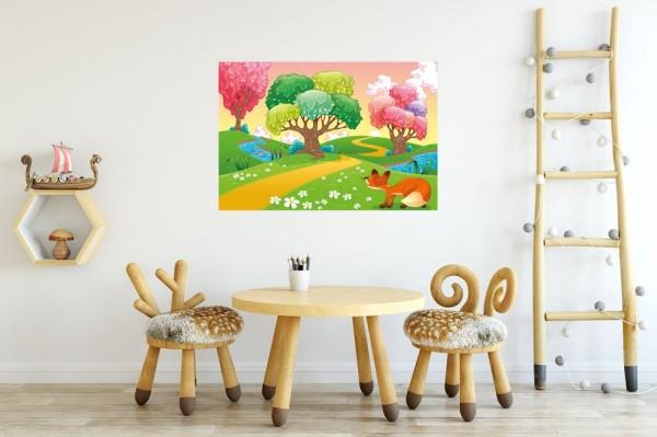 selbstklebende Fototapete - Kinderbild - Phantasiebäume - Bunter Wald