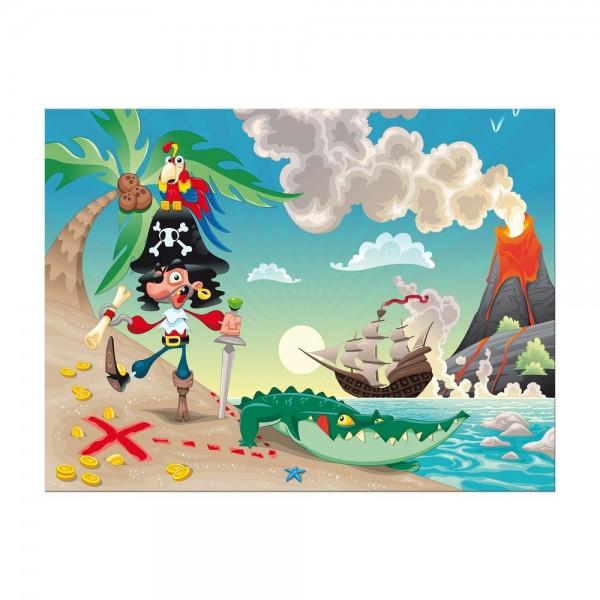 Leinwandbild - Kinderbild - Pirat auf Insel Cartoon