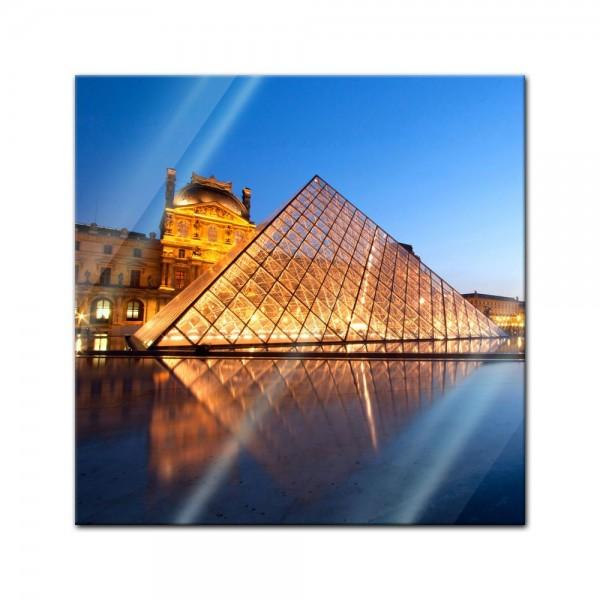 Glasbild - Louvre Museum in Paris - Frankreich