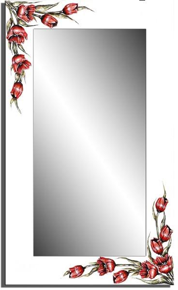 Wandspiegel weiß - 3D Tulpe ca. 110x70 cm