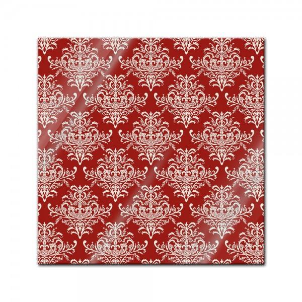 Glasbild - Barockes rotes Muster