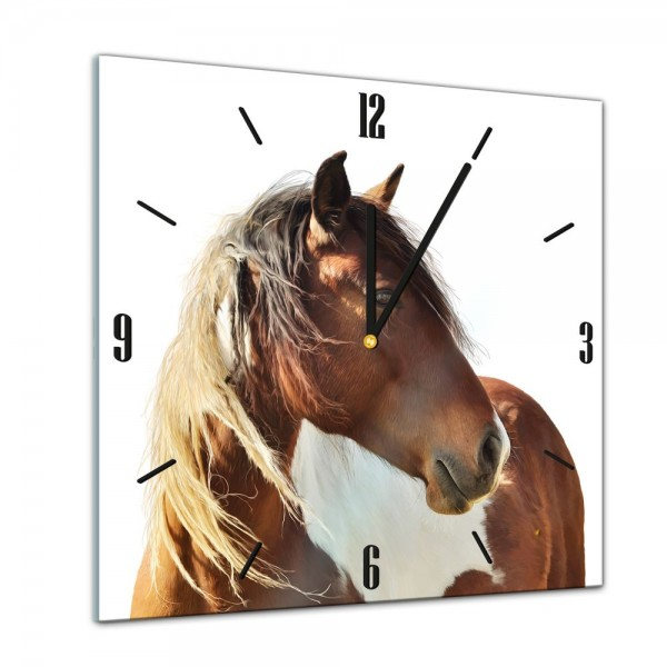 Glasuhr - Tiere - Pferd Portrait - 40x40cm