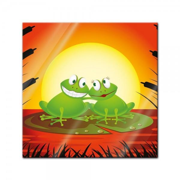Glasbild - Kinderbild Verliebter Frosch Cartoon