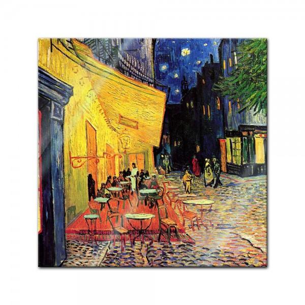 Glasbild Vincent van Gogh - Alte Meister - Caféterrasse am Abend -