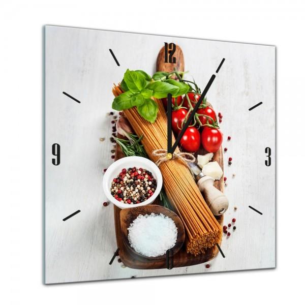 Glasuhr - Kochen mit Genuss - Italienische Pasta II - 40x40cm