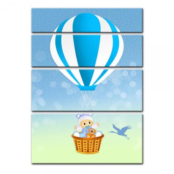 Leinwandbild - Kinderbild - Baby im blauen Heissluftballon