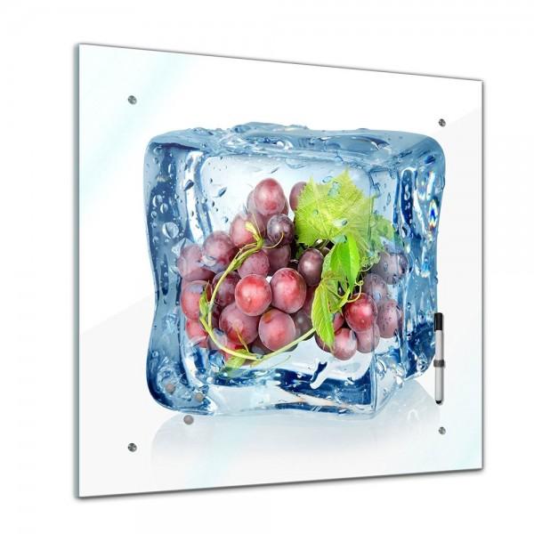 Memoboard - Essen & Trinken - Eiswürfel rote Weintrauben - 40x40 cm
