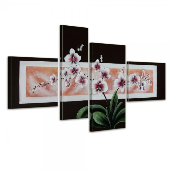 SALE Orchidee M1 - Leinwandbild 4 teilig 120x70cm Handgemalt