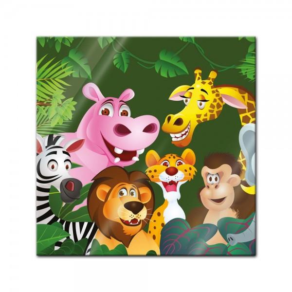 Glasbild - Kinderbild Dschungeltiere Cartoon IV