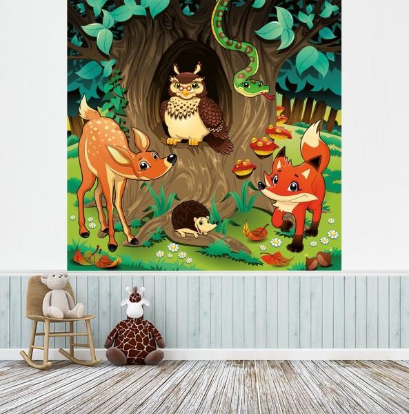 selbstklebende Fototapete - Kinderbild - Waldtiere III Cartoon - Waldgeschichten bei Frau Eule