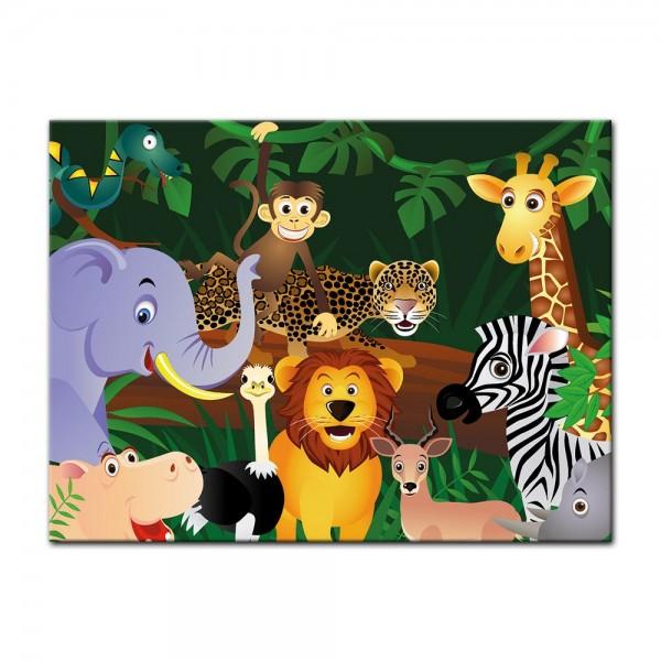 Leinwandbild - Kinderbild - Wilde Tiere im Dschungel Cartoon