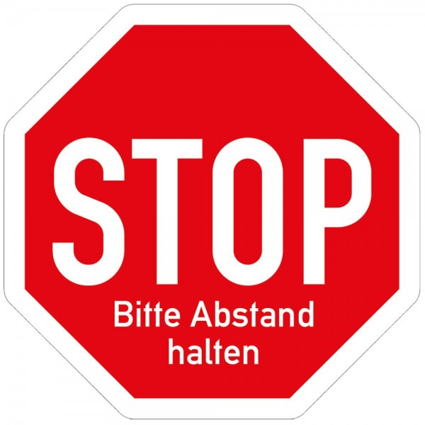 Hinweis Warnhinweis Fußboden-Aufkleber - Stop Abstand halten