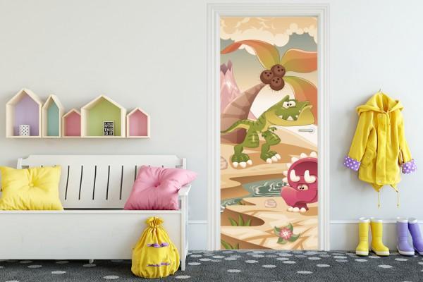 Türaufkleber - Kinderbild Dinosaurier - Vintage