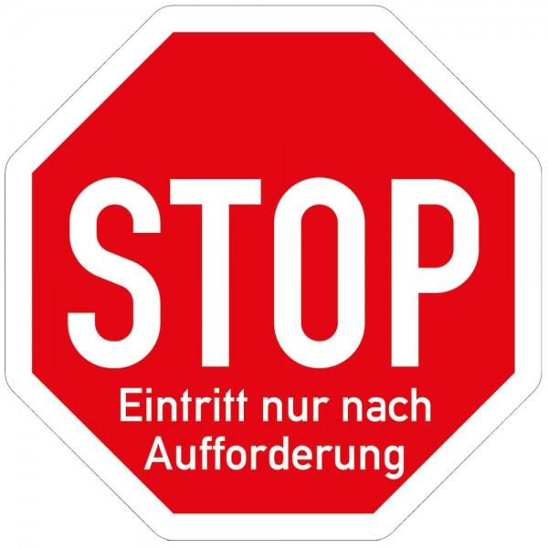 Hinweis Warnhinweis Fußboden-Aufkleber - Stop Eintritt nur nach Aufforderung