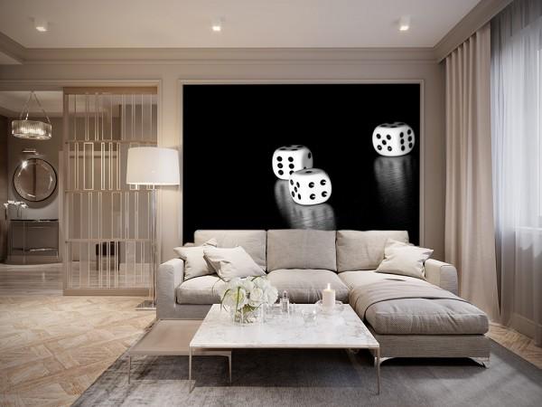 Fototapete - Würfel schwarz weiß