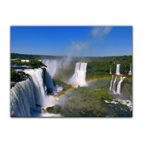Leinwandbild - Iguazu Wasserfälle mit Regenbogen